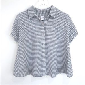 CAbi Striped Linen button up Hacienda Blouse Small